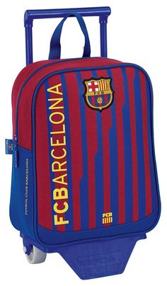 Mochila infantil con ruedas F.C. Barcelona: Amazon.es: Juguetes y juegos Fc Barcelona, School Bags, Club, Canvas, Baggage, Wheels, Backpacks, Products, Toys