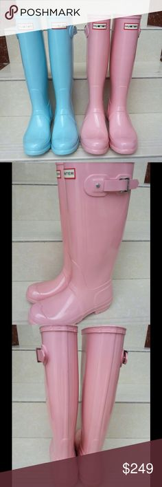 Beautiful Hunter Baby Powder Pink? Rain Boots The most beautiful pink color Hunter rain boots I have ever seen. I think they are called Baby Powder Pink but please use the photos to judge it yourself and don't hold the color name against me. Mouth warring cute. New without box. 100% Authentic. Hunter Boots Shoes Winter & Rain Boots