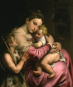 """AGOSTINO CARRACCI, """"Madonna and Child with St. John"""", 16th century. Oil on canvas. From the UK  Art Museum Collection."""