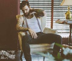 Levi Stocke - beard mustache bearded man men mens' style dapper fashion clothing suspenders tattoos tattooed handsome #beardsforever