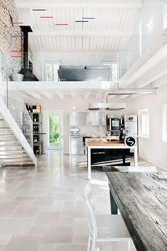 How do you make a two-story home feel more open? With an open concept design, of course! Here are 12 of our favorite lofts and mezzanines. The Loft, House Plan With Loft, Loft House, House Plans, Green House Design, Modern House Design, Modern Interior Design, Interior Architecture, Interior Ideas