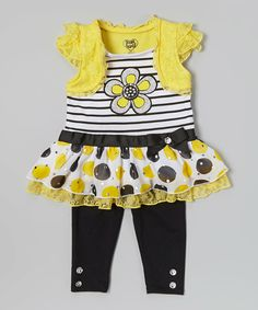 Look at this #zulilyfind! Yellow Flower Skirted Tunic & Leggings - Infant by Young Hearts #zulilyfinds