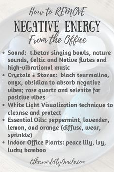 Stressed out at work? Negative vibes bringing you down? Here's how to remove negative energy from office spaces using natural, attainable items. All You Need Is, Meditation, Removing Negative Energy, Negative Energy Quotes, Simple Life Hacks, Book Of Shadows, Me Time, Krystal, Cleaning Hacks
