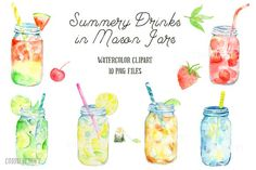 Watercolor Mason Jar Drinks by Corner Croft on @creativemarket