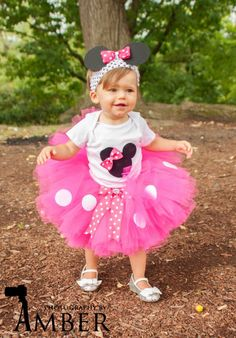 Minnie Mouse Tutu, Baby Tutu and puff headband set, 2T-5T, Photo Prop, Childrens Toddler Infant Tutu, Halloween Costume, Birthday, Mickey. $45.00, via Etsy.