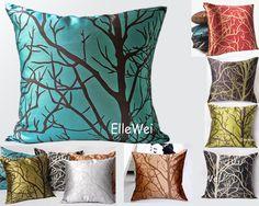 Decorative Modern Cyan Blue Throw Pillow Cover by ElleWeiDeco