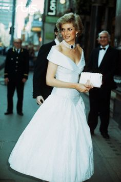 princess diane evening gowns | Princess Diana in White Evening Dress - ZCV12809052 - Rights Managed ...