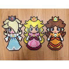 Princesses Rosalina, Peach and Daisy - Mario perler beads by pomelo.princess