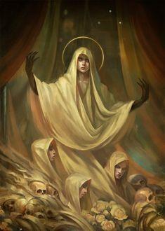 Pray by Klaher Baklaher Fantasy Rpg, Fantasy Artwork, Dark Fantasy, Fantasy Inspiration, Character Design Inspiration, Character Portraits, Character Art, Monster, Fantasy Characters