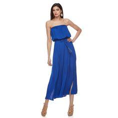 Women's Jennifer Lopez Strapless Blouson Maxi Dress, Size: Medium, Blue