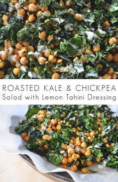 Roasted Kale and Chickpea Salad with Lemon Tahini Dressing #tahinisaladdressing