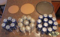 Beer Can Cake Tutorial - 30 beers, pizza pan, cardboard and decorationsYou can find Beer cakes and more on our website.Beer Can Cake Tutorial - Birthday Gifts For Boyfriend, Boyfriend Gifts, Surprise Boyfriend, Diy 40th Birthday Gifts For Him, 40th Birthday Ideas For Men Husband, Boyfriends 21st Birthday, Boyfriend Food, Beer Can Cakes, Beer Cakes Diy