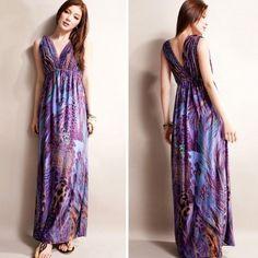 2013 Hot Selling Women Sexy Maxi Dress Purple Peacock Totem Bohemian Dresses New Fashion Empire Waist CQ0009 $19.59