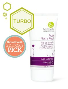 Fruit Fiesta Peel  1.2 oz  Step 2  Age Defense  Intense formula with 7% Lactic Acid to support youthful collagen.  Benefits: Vegan friendly, gluten free  Recommended for: Dry skin / Anti-aging concerns