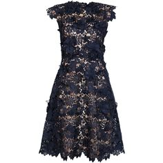 Paule Ka Navy Guipure Lace Dress - Size 12 ($1,950) ❤ liked on Polyvore featuring dresses, slip dress, navy blue slip, navy blue slip dress, navy lace cocktail dress and navy blue lace cocktail dress