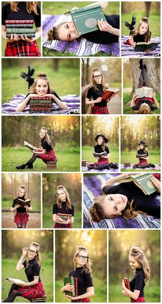 Natalie | Senior 2018 | Denton High School senior, pictures, photography, portraits, high school, texas, tx, dfw, fort worth, bookworm, books, scholar, styled, shoot, session, plaid, skirt, glasses, park www.kyleeswisherphotography.com