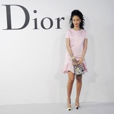Rihanna at the Dior Cruise Fashion Show - May 2014, love the pink dress, the shoes, the styling... Good job!
