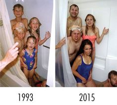 5 siblings in the shower 22 years later.