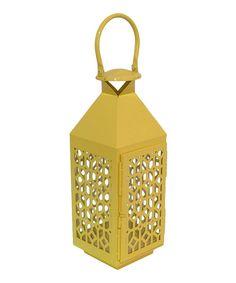 Look at this #zulilyfind! Yellow Metal Medium Lantern by Three Hands Corporation #zulilyfinds