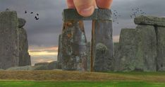 Long, long ago Merlin built Stonehenge using giants. Here is the clear photographic evidence. 'The camera never lies. Picture Blog, Stonehenge, Model Pictures, Merlin, Building, Buildings, Construction