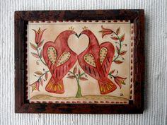 Fraktur of Love Birds by primitivehand on Etsy, $89.00