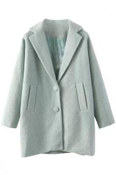 Glamorous Dusty Green Woolen Coat $45.36 by Oasap.com