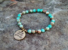 New  Stretch Bracelet in Magnesite Gemstone Turquoise  by Angelof2, $26.00