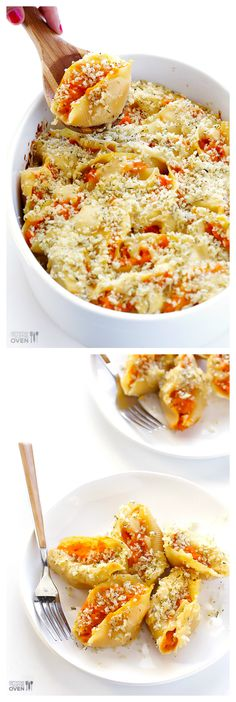 Butternut Squash Alfredo Stuffed Shells -- sweet, savory, and made with a lighter (but super delicious) alfredo sauce! | gimmesomeoven.com #pasta