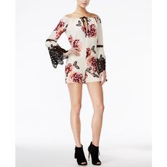 Guess Vivien Off-The-Shoulder Printed Romper ($45) ❤ liked on Polyvore featuring jumpsuits, rompers, blissful blooms antique, guess romper, playsuit romper, off shoulder romper, white romper and white rompers