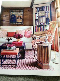 Lamp. Bookshelves. Stool