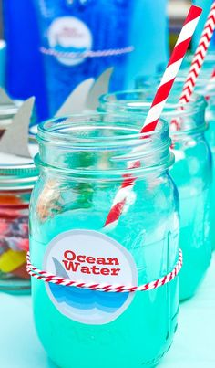 Ocean Water Blue Punch Recipe ~ Throwing a fun summer event or maybe even a Shark Party? Quickly make this easy Blue Punch recipe and print the cute free label to name it Ocean Water! Blue Hawaiian Punch, Blue Punch, Baby Shower Punch, Baby Boy Shower, Blue Raspberry Lemonade, Blue Raspberry Punch Recipe, Pink Lemonade, Blue Party Punches, Blue Drinks