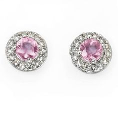 Pink Sapphire Earrings White Gold .