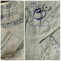 Hand painted Gayatri Mantra on Kurta with Aum emblem at the back, Calligraphy, only at Likhawat.