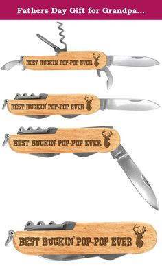 98660aa79ea Fathers Day Gift for Grandpa Buckin Pop-Pop Laser Engraved Wood 6 Function  Multitool Pocket