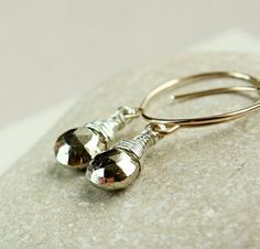 Pyrite  Earrings   Mixed Metal     Gold And Silver   by Hildes, $33.00