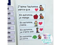 We have been working hard on our fall vocabulary for a few weeks. It's so fun to hear them say the fall words with so much confidence now! Spanish Teaching Resources, Spanish Language Learning, French Resources, How To Speak French, Learn French, French Sentences, Writing Sentences, Teaching French Immersion, French Conversation