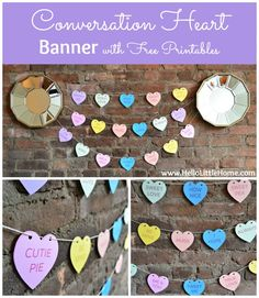 DIY Paper Garland : DIY Conversation Heart Banner with Free Printable Valentines Day Party, Valentines Day Decorations, Valentine Day Crafts, Love Valentines, Holiday Crafts, Holiday Fun, Valentine Ideas, Holiday Ideas, Heart Banner