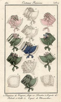 Bonnets 1811 costume parisien
