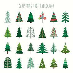 Christmas tree collection vector art illustration