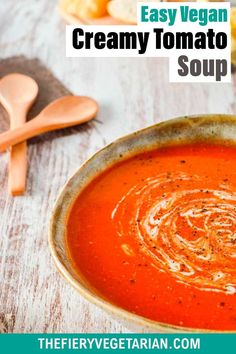 This easy creamy homemade vegan tomato soup recipe is the best tomato soup recipe you can make from pantry essentials in under half an hour! Simple and quick, make it without chopping, stirring or blending. No muss, no fuss, just throw eight ingredients (including coconut milk - don't worry you can't taste it) in a pot and cook for 20 minutes. Done! What will you serve with yours? Visit and see the quick recipe video if you're a more visual person. Vegetarian Lunch Ideas For Work, Easy Vegan Lunch, Quick Easy Vegan, Tasty Vegetarian Recipes, Vegan Lunches, Vegan Dinner Recipes, Vegan Stew, Vegan Grilling, Tomato Soup Recipes