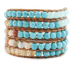 Chan Luu - Aqua Fire Agate Stone Mix Wrap Bracelet on Natural Brown Leather, $325.00 (http://www.chanluu.com/wrap-bracelets/aqua-fire-agate-stone-mix-wrap-bracelet-on-natural-brown-leather/)