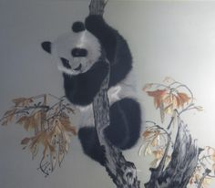 Panda hand embroidery painting | by Suzhou embroidery