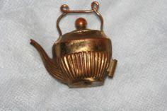 Tape Measure RARE Brass Tea Kettle w Scallop Handle   eBay