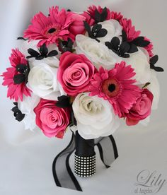 "17pcs Wedding Bridal Bouquet Silk Flower Decoration Package Bride FUCHSIA BLACK ""Lily of Angeles"". $199.99, via Etsy."