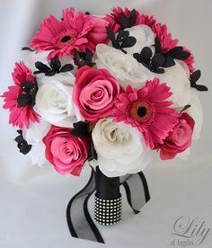"17pcs Wedding Bridal Bouquet Silk Flower Decoration Package Bride FUCHSIA BLACK ""Lily of Angeles"". $199.99, via Etsy."