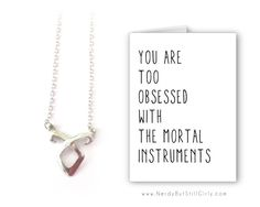 The Mortal Instruments Obsessed Greeting Card with Necklace