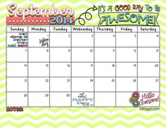 Yay! SEPTEMBER 2014 calendar from inkhappi