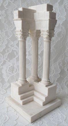 Vintage R Leoni Classical Roman Forum Temple Column by dreamy1 (Art & Collectibles, Collectibles, home decor, reproduction, 1972, Roma, roman columns, statue, Roman statue, Italy, R Leoni, sculpture, Roman column statue)