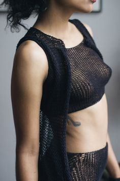 Knit Crop Tank by Maude Nibelungen. Works in the club. Works at a music festival. Works as an under-layer. A versatile piece of loungewear-come-base layer.