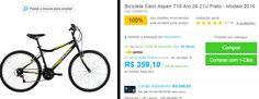 Bicicleta Caloi Aspen T18 Aro 26 21V Preto - Modelo 2016 << R$ 32319 >>